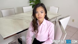 PropertySex - Petite Asian real estate agent takes big cock