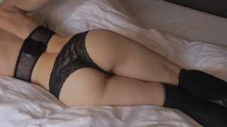 Fucked til shaking orgasm and cream pie. High socks, hot ass and tight puss