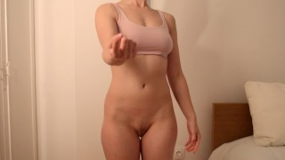 Ballbusting Strip Game with Wife (Handjob and Cum on Body)