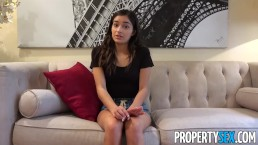 PropertySex - Hot young tenant behind on rent fucks her landlord