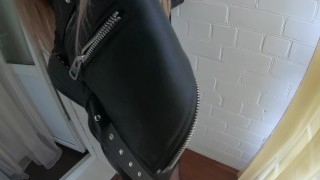 Hot Blowjob from Babe in Pantyhose and Leather - Publick POV Cumshot