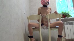 He tied me to chairs and made me jerk off my pussy ...