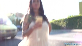 Public Agent Chloe Lamour gets her big boobs jizzed on for cash