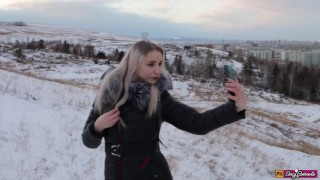 Winter Blowjob and Sex With a Young Cute Girl In a Fur Coat - Swallow Cum