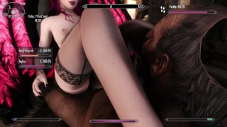 Skyrim: Succubus girl sucks the life out of old pervert