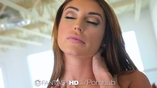FANTASYHD Pussy Squirting Brunette Explodes On Big Dick