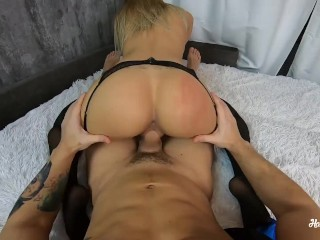 Preview 4 of Young Girl in Stockings Ride Cock Step-Brother. POV & CREAMPIE