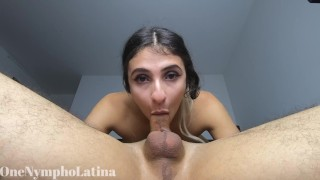 TRIPLE CUM in THROAT for COLLEGE GIRL, she STAYS DOWN while I CUM every single time