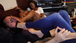 2 Amateur Babes Take Control and Give Foot Smothering Handjob with Big Cumshot - Preview