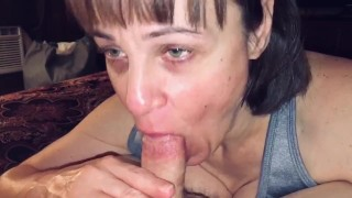 Mature Hot Wife sucking friends cock while I film and comment